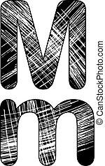 grunge, kras, symbool, m, ontwerp, white., brief, alfabet