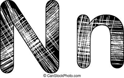 grunge, kras, symbool, n, ontwerp, white., brief, alfabet