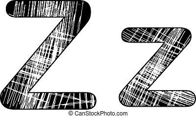 grunge, kras, symbool, ontwerp, white., brief, alfabet, z