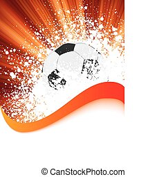 grunge, labdarúgás, poszter, noha, futball, ball., eps, 8