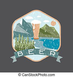 grunge label of beer glass with mountains