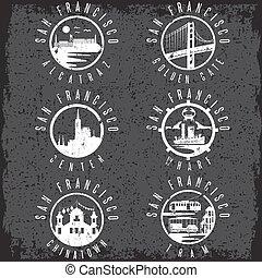 Grunge label set with landmarks of San Francisco California,USA . Wharf , Alcatraz,Business Center ,Golden Gate bridge and Chinatown illustrations.