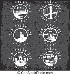 Grunge label set with landmarks of San Francisco California,USA . Wharf , Alcatraz,Business Center ,Golden Gate bridge and Chinatown illustrations.