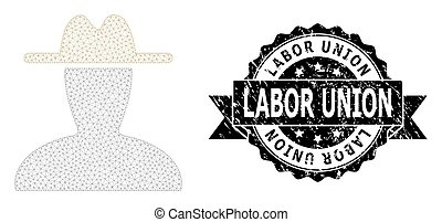 Labor Union grunge seal print and vector peasant persona mesh structure. Black stamp seal has Labor Union text inside ribbon and rosette. Abstract flat mesh peasant persona, designed with flat mesh.