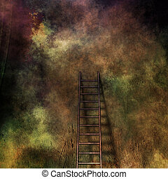 Grunge ladder and wall