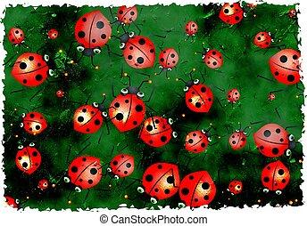 grunge ladybugs - really cute swarm of ladybugs on textured ...