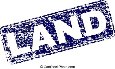 Grunge LAND Framed Rounded Rectangle Stamp