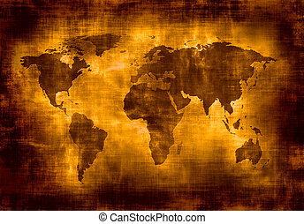 grunge, landkarte, von, welt