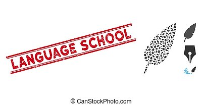 Grunge Language School Line Seal and Collage Feather Icon