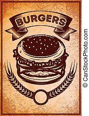 grunge, lebensmittel, plakat, schnell, hamburger, retro