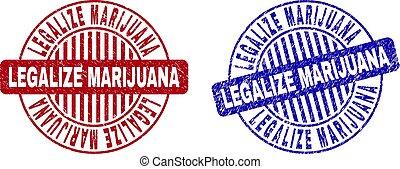Grunge LEGALIZE MARIJUANA Scratched Round Stamp Seals