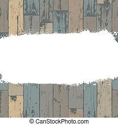 grunge, legno, etichetta, fondo., vettore, bianco