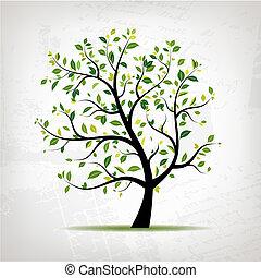 grunge, lente, boompje, ontwerp, achtergrond, groene, jouw