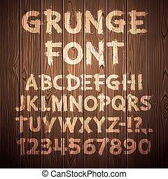 grunge, letras, e, números, ligado, madeira, fundo