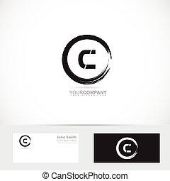 Grunge letter c circle logo