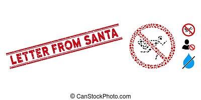 Grunge Letter from Santa Line Seal with Mosaic No Mail Courier Icon