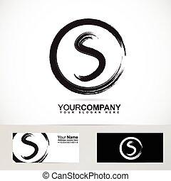 Grunge letter S circle logo