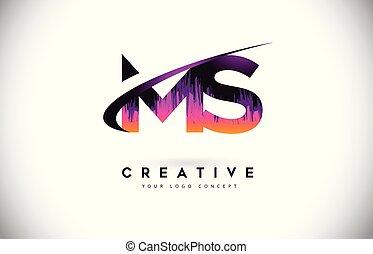 grunge, lettera, viola, vibrante, m, s, creativo, logotipo, colori, vettore, ms, vendemmia, lettere, design.