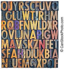grunge letterpress alphabet background
