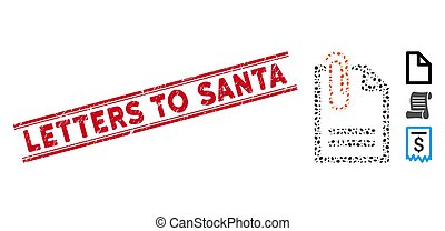 Grunge Letters to Santa Line Seal with Mosaic Attach Document Icon
