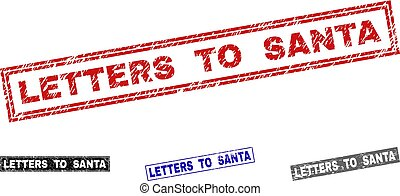 Grunge LETTERS TO SANTA Scratched Rectangle Watermarks