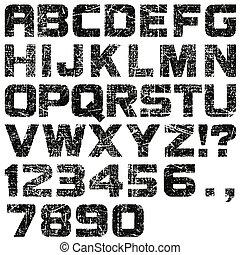grunge, lettres, nombres