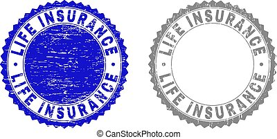 Grunge LIFE INSURANCE Textured Stamps