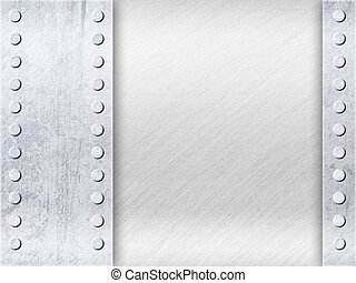 Grunge Light Grey Surface with Empty Space and Rivets