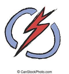grunge lightning, vector icon