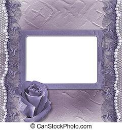 grunge, lila, karte, für, einladung, oder, glückwunsch, mit, perlen, rose, und, spitze