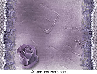 Grunge lilac card for invitation or congratulation with pearls and lace