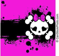 grunge, lindo, cráneo, tarjeta de lugar