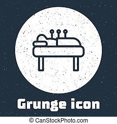 Grunge line Acupuncture therapy icon isolated on grey background. Chinese medicine. Holistic pain management treatments. Monochrome vintage drawing. Vector