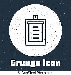 Grunge line Clipboard with checklist icon isolated on grey background. Control list symbol. Survey poll or questionnaire feedback form. Monochrome vintage drawing. Vector
