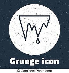 Grunge line Icicle icon isolated on grey background. ...
