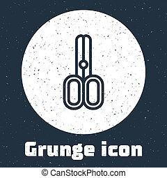 Grunge line Scissors hairdresser icon isolated on grey background. Hairdresser, fashion salon and barber sign. Barbershop symbol. Monochrome vintage drawing. Vector Illustration