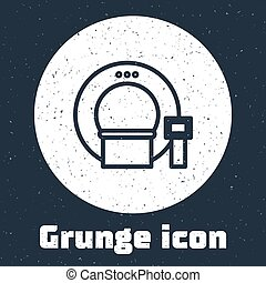 Grunge line Tomography icon isolated on grey background. Medical scanner, radiation. Diagnosis, radiology, magnetic resonance therapy. Monochrome vintage drawing. Vector Illustration