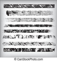 grunge, linhas, e, golpes, vectors