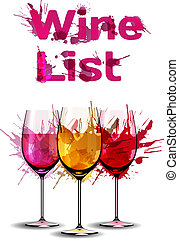 grunge, lista, modelo, vinho