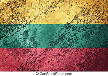 Grunge Lithuania flag. Lithuanian flag with grunge texture.