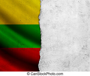 Grunge Lithuania flag with paper frame