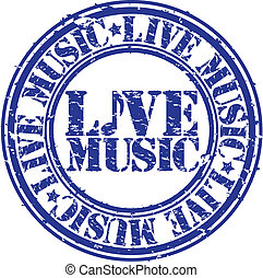 Grunge live music rubber stamp, vec