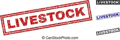 Grunge LIVESTOCK Scratched Rectangle Watermarks