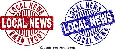 Grunge LOCAL NEWS Scratched Round Watermarks