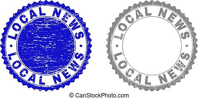 Grunge LOCAL NEWS Scratched Stamps