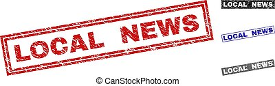 Grunge LOCAL NEWS Textured Rectangle Stamps