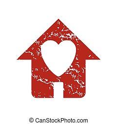 grunge, logo, amour, rouges, maison