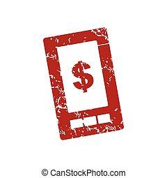 grunge, logo, dollar, téléphone rouge