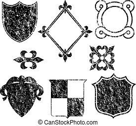 grunge, logotipo, elementi