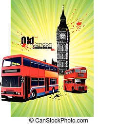Grunge London images with buses im